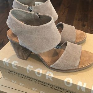Ladies Taupe Suede Booties by Toms